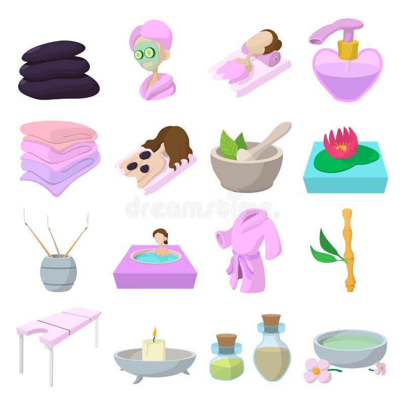 Ícones dos desenhos animados dos termas ajustados ilustração stock