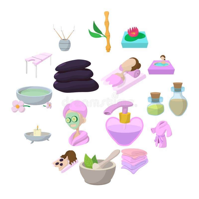 Ícones dos desenhos animados dos termas ajustados ilustração do vetor