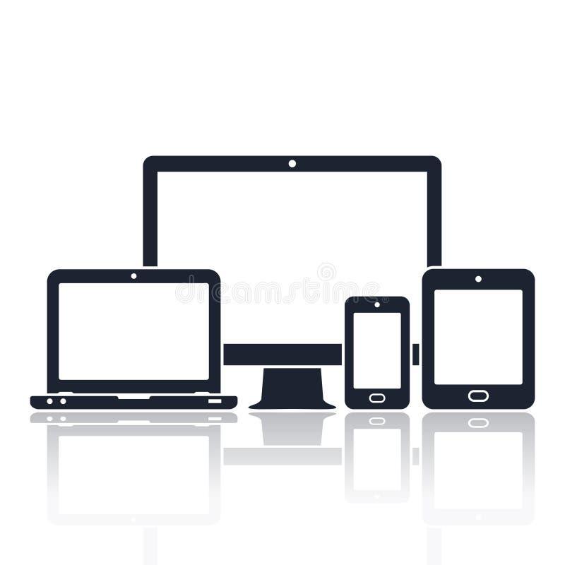 Ícones dos dispositivos de Digitas Monitor esperto do telefone, da tabuleta, do portátil e do computador Ilustração do vetor do d ilustração royalty free