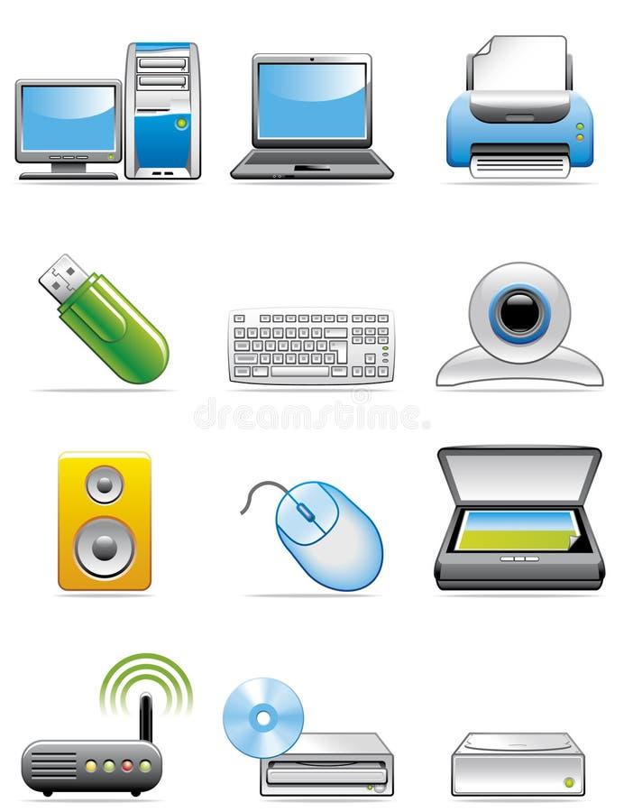Ícones dos dispositivos do computador ilustração royalty free
