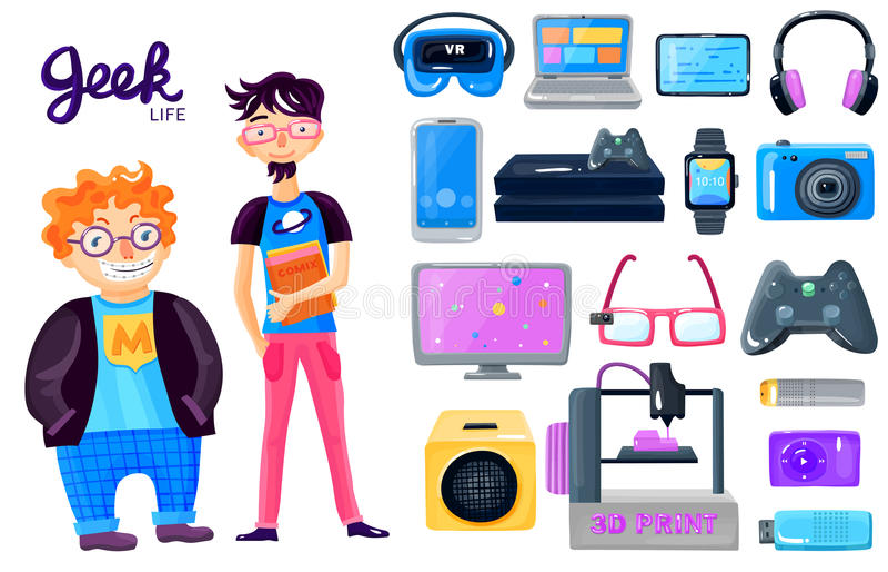 Ícones dos dispositivos do personagem de banda desenhada ajustados ilustração royalty free
