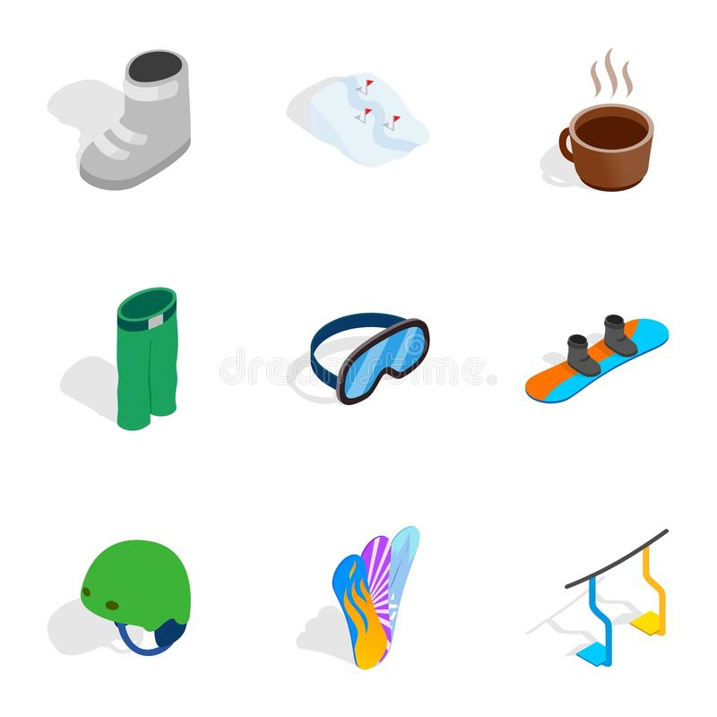 Ícones dos elementos da snowboarding ajustados ilustração royalty free