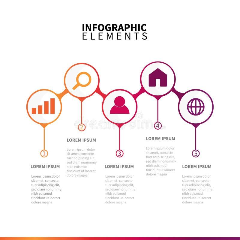 Ícones dos elementos de Infographic com etapas fotos de stock