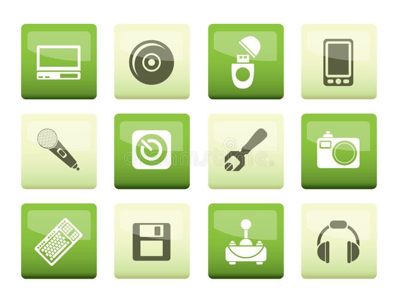 Ícones dos elementos do computador e do telefone celular sobre o fundo verde ilustração royalty free