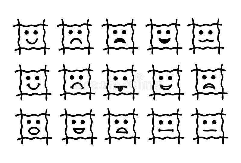 15 ícones dos emoticons, smiley Sinais e símbolos de emoções humanas, pictograma, coleções ilustração royalty free