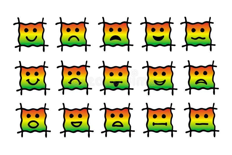 15 ícones dos emoticons, smiley Sinais e símbolos de emoções humanas, pictograma, coleções ilustração do vetor