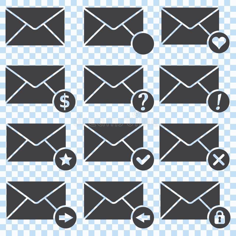 Ícones dos envelopes, grupo ilustração stock