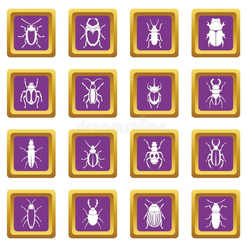 Ícones dos erros ajustados roxos ilustração stock