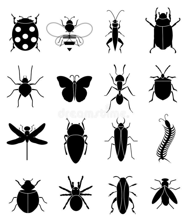 Ícones dos erros dos insetos ajustados ilustração do vetor