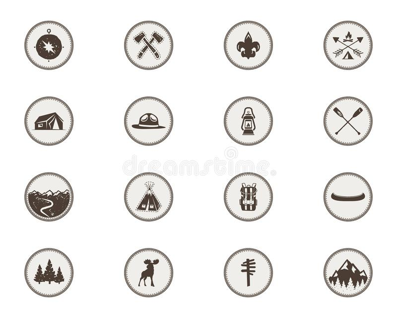 Ícones dos escuteiros de menino, remendos O pacote completo Etiquetas de acampamento Símbolo da barraca, pictograma dos alces, el ilustração royalty free