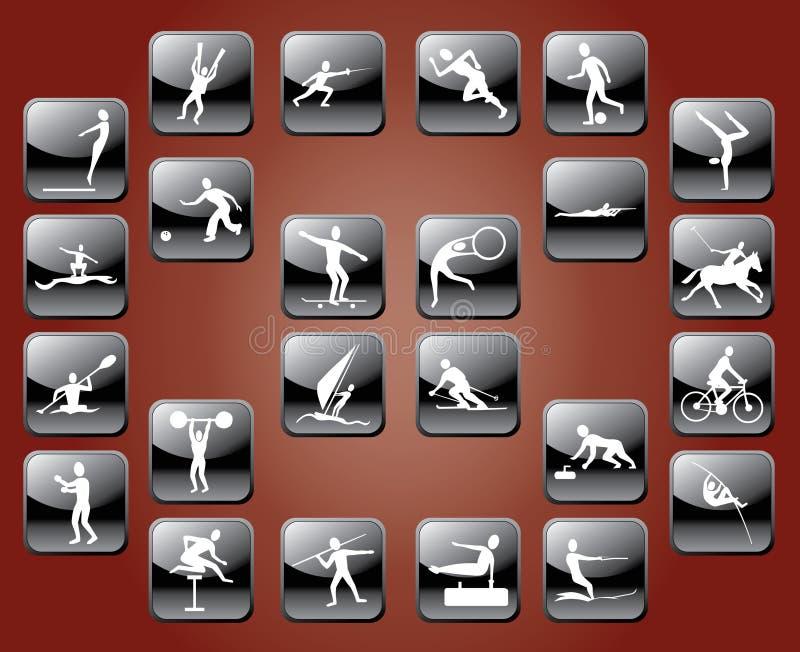 Ícones dos esportes ilustração royalty free