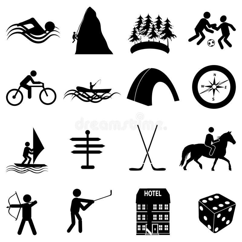 Ícones dos esportes da aventura ajustados ilustração royalty free