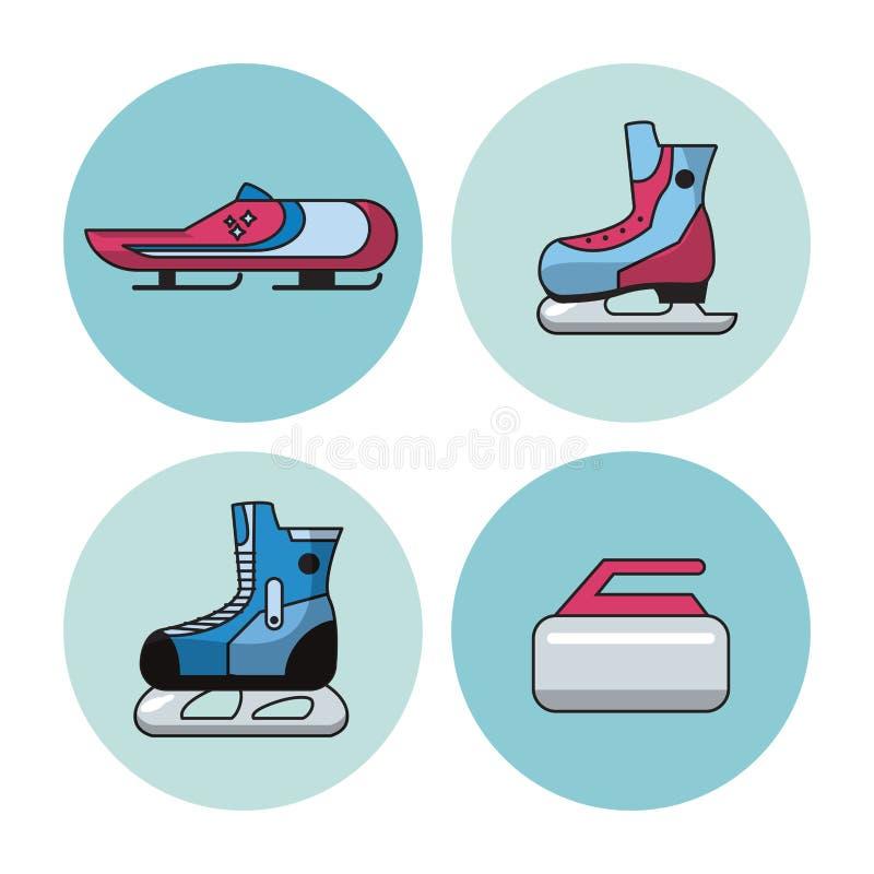 Ícones dos esportes de inverno ilustração do vetor