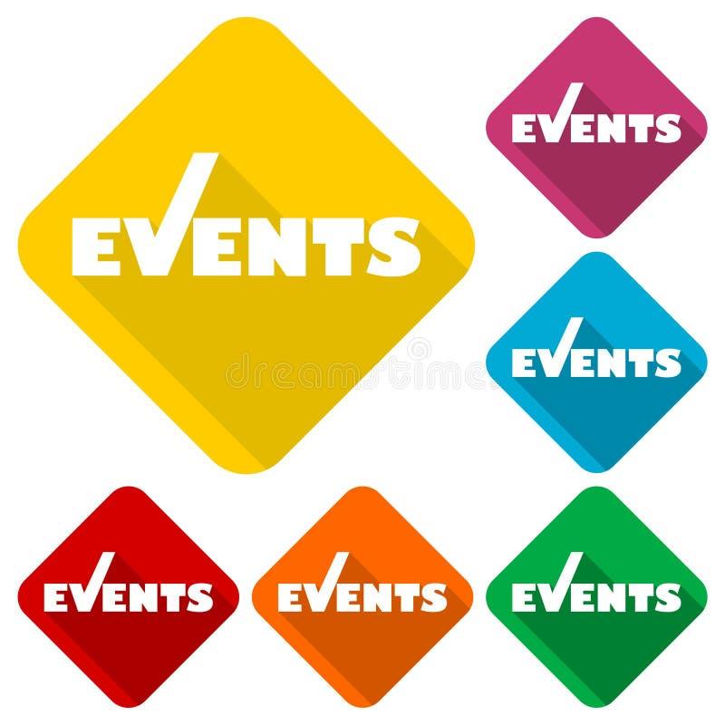 Ícones dos eventos ajustados com sombra longa ilustração royalty free