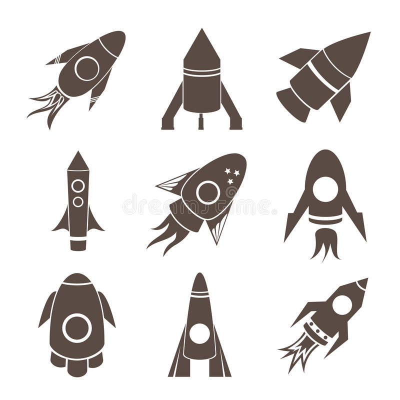 Ícones dos foguetes do vetor ajustados no fundo branco ilustração do vetor