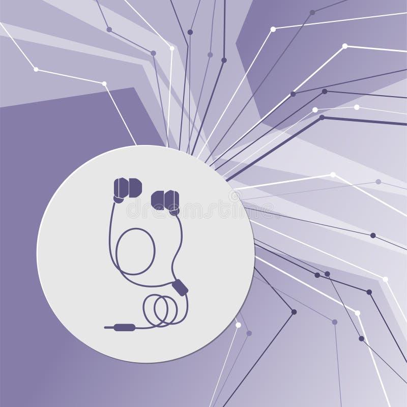Ícones dos fones de ouvido no fundo moderno abstrato roxo As linhas em todos os sentidos Com sala para sua propaganda ilustração do vetor