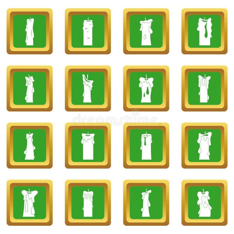 Ícones dos formulários da vela ajustados verdes ilustração royalty free