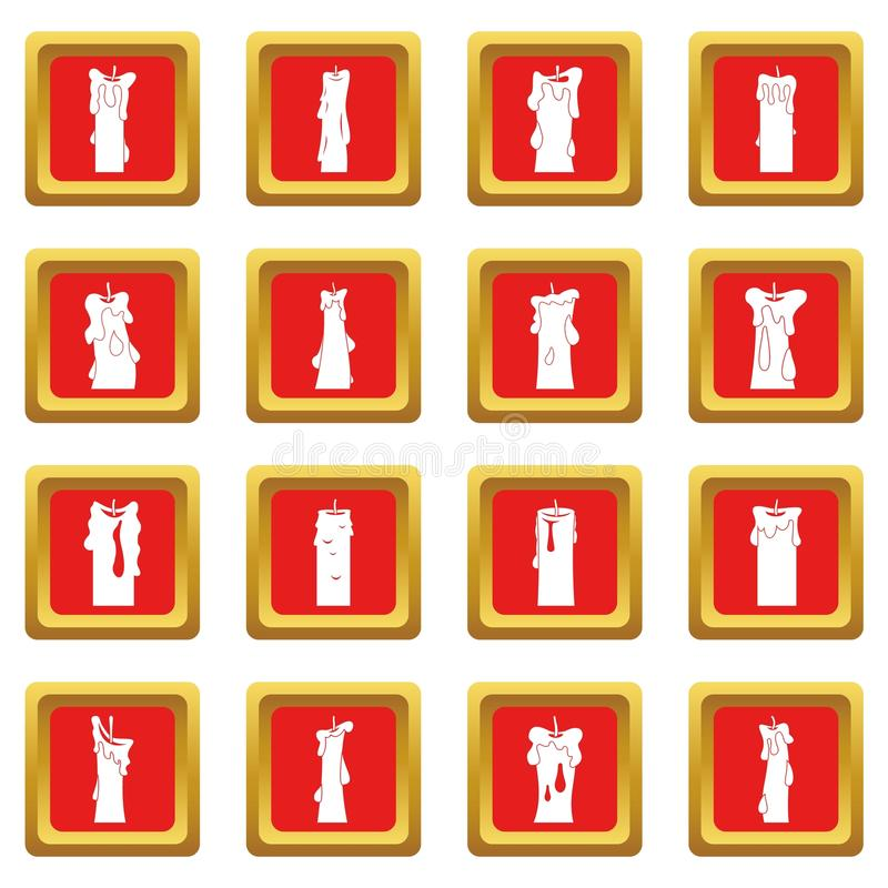 Ícones dos formulários da vela ajustados vermelhos ilustração do vetor