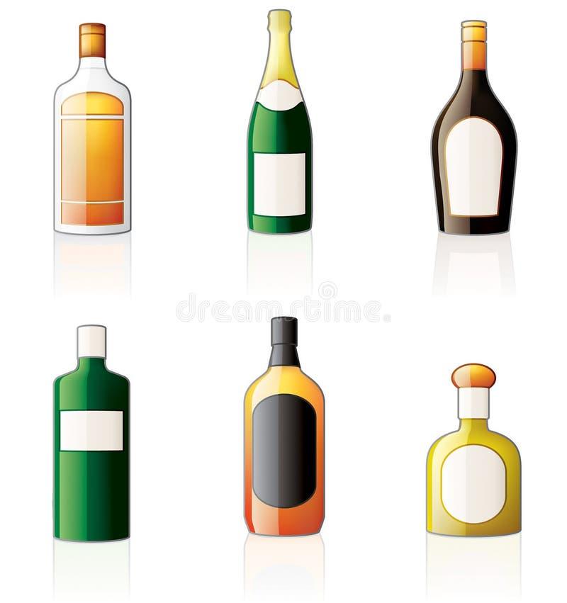 Ícones dos frascos do álcool ajustados ilustração royalty free