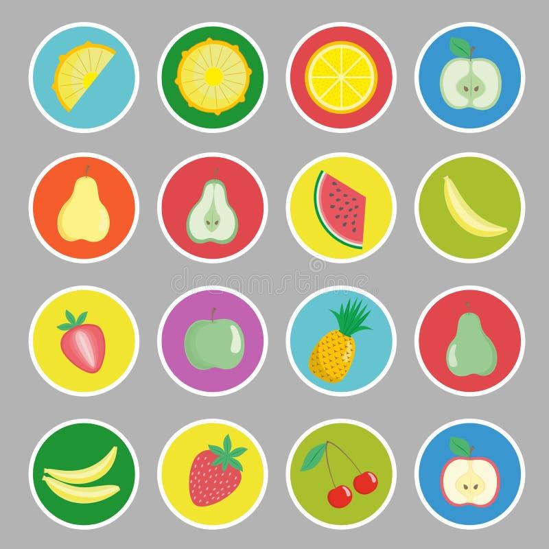Ícones dos frutos, das bagas e dos vegetais dos desenhos animados, etiquetas ilustração royalty free