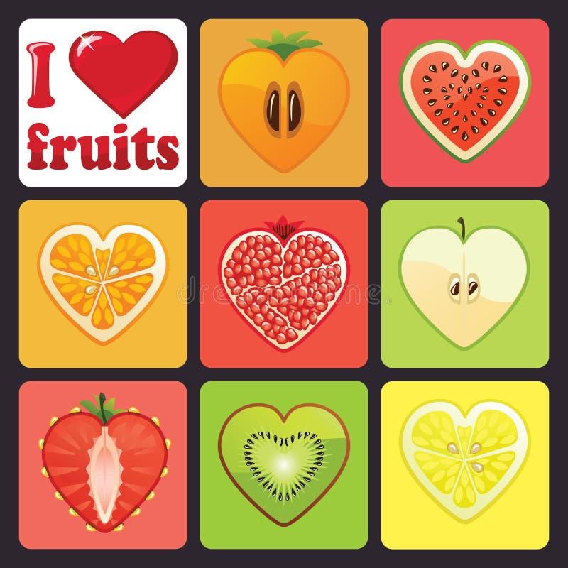 Ícones dos frutos e das bagas ajustados. Eu amo frutos ilustração royalty free