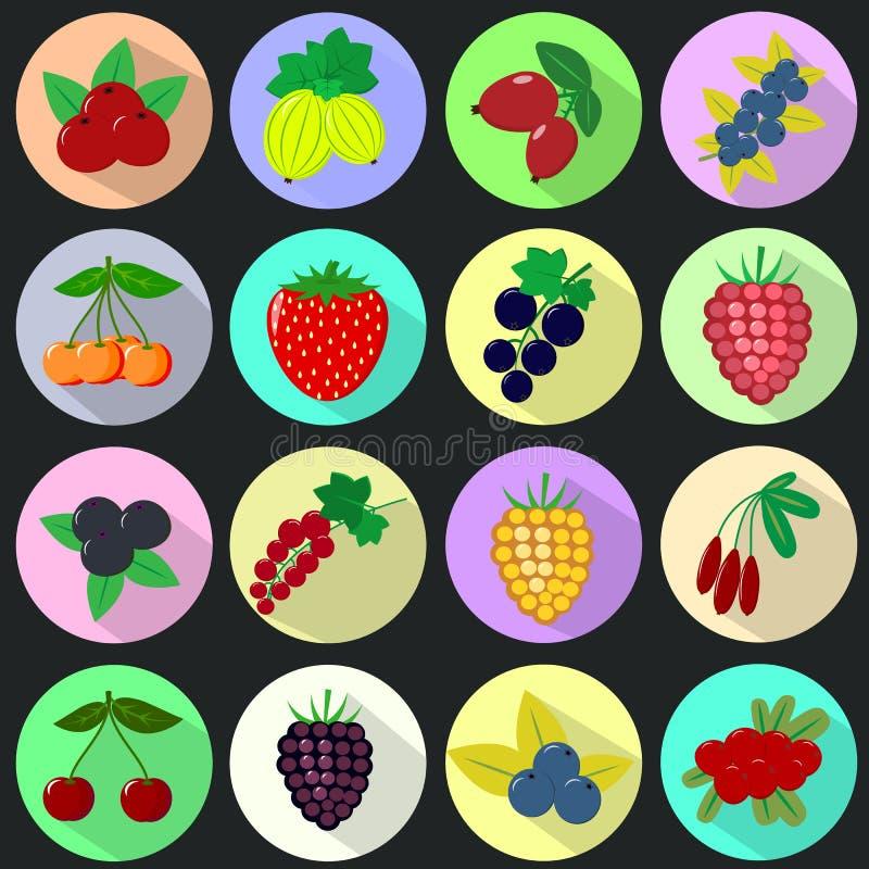 Ícones dos frutos e das bagas em um grupo em um fundo escuro ilustração royalty free