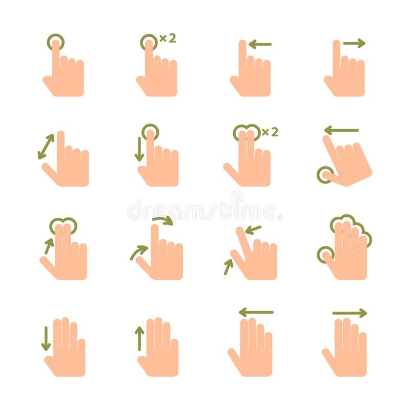 Ícones dos gestos do toque da mão ajustados ilustração do vetor