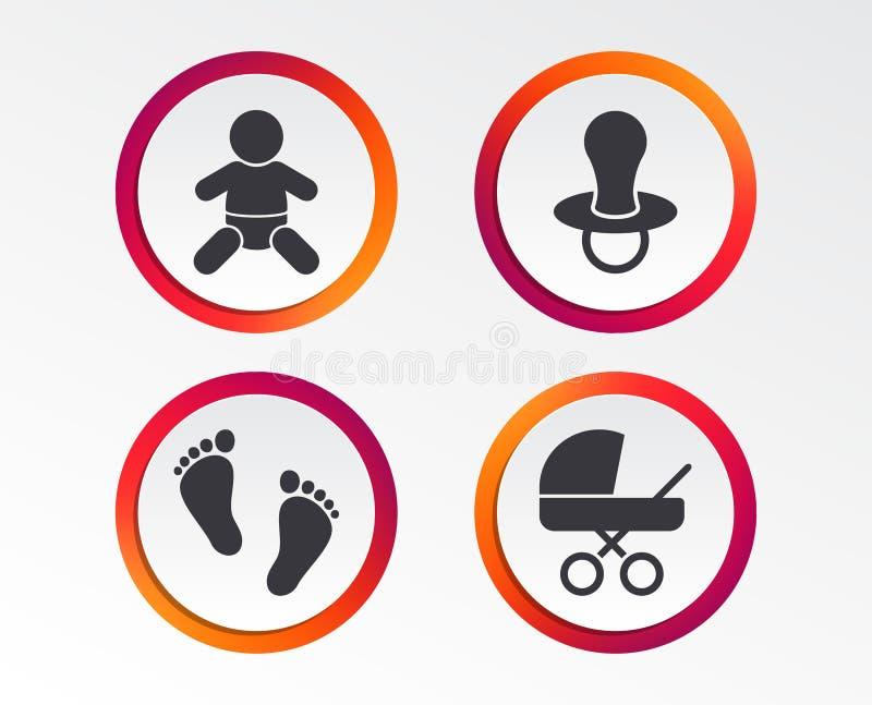 Ícones dos infantes do bebê Símbolos com erros e do manequim ilustração royalty free