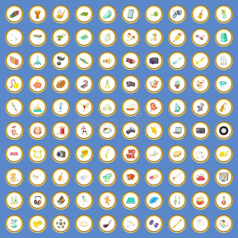 100 ícones dos interesses ajustaram o vetor dos desenhos animados ilustração do vetor