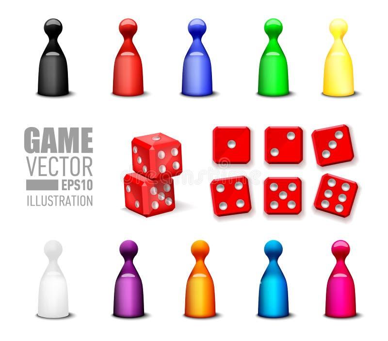 Ícones dos jogos da ilustração do vetor ajustados ilustração do vetor