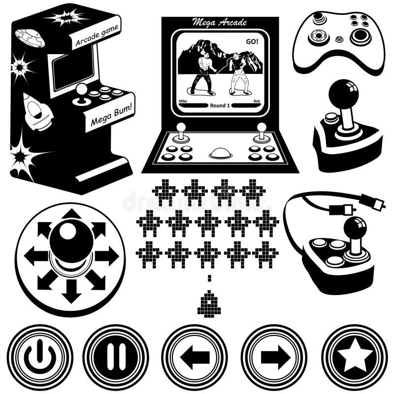 Ícones dos jogos de arcada ilustração royalty free