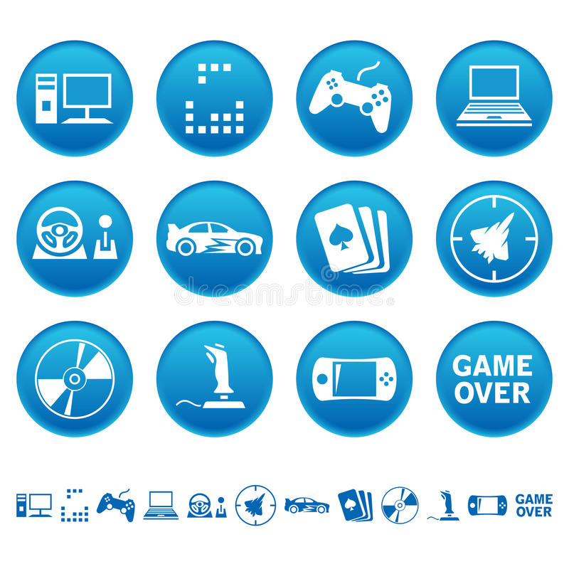 Ícones dos jogos de computador ilustração stock