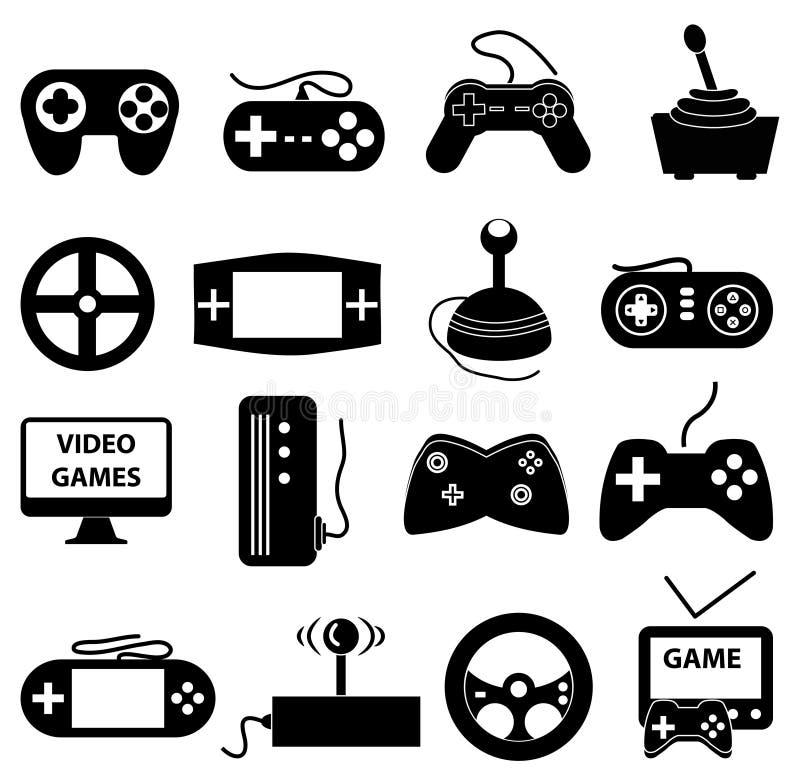 Ícones dos jogos de vídeo ajustados ilustração royalty free