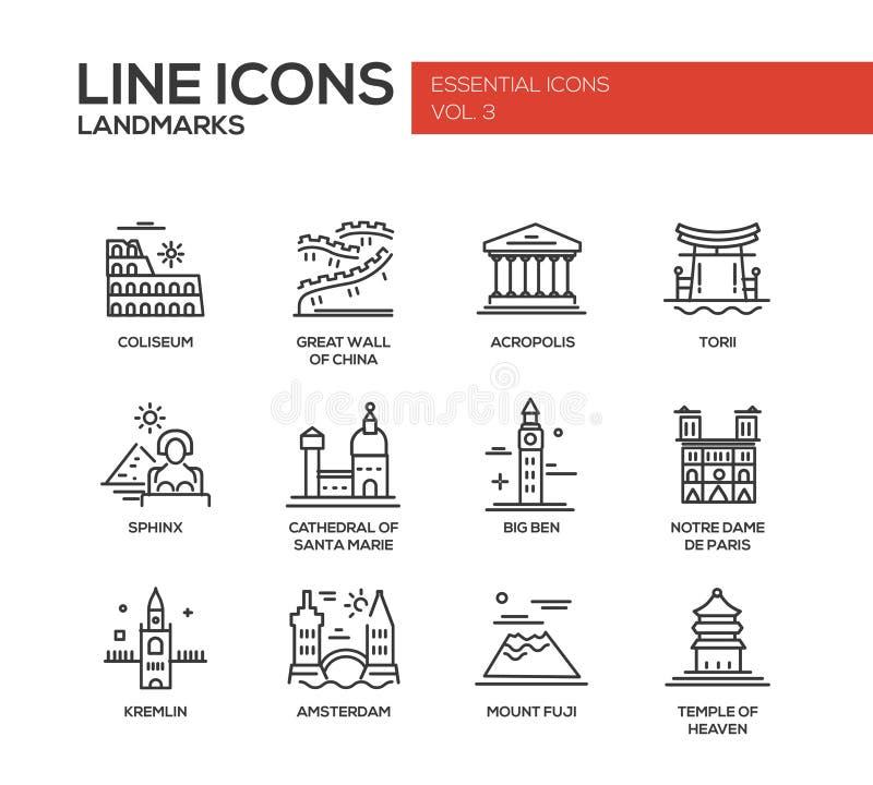 Ícones dos marcos do mundo ajustados ilustração royalty free