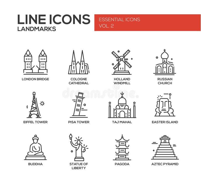 Ícones dos marcos do mundo ajustados ilustração stock