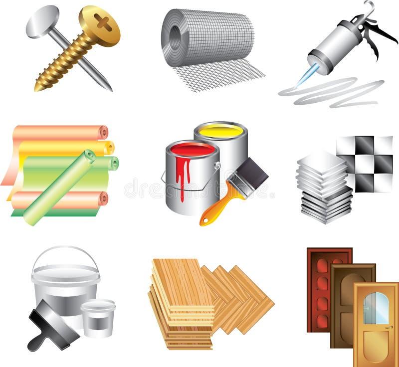 Ícones dos materiais de construção ilustração stock