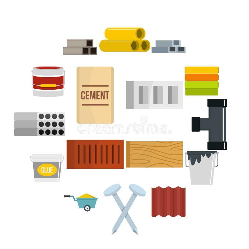 Ícones dos materiais de construção ajustados no estilo liso ilustração stock