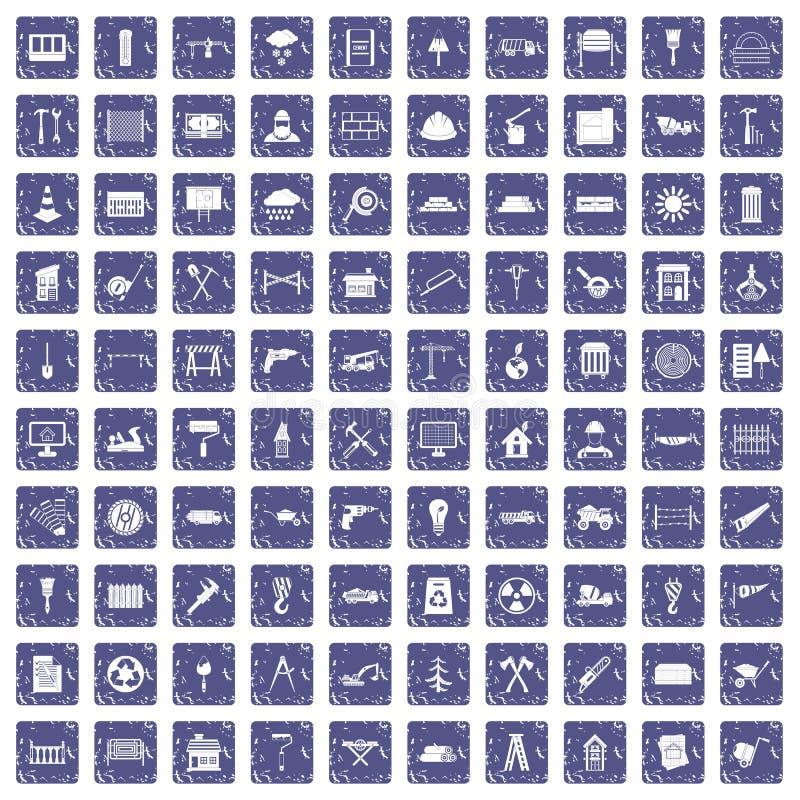 100 ícones dos materiais de construção ajustaram a safira do grunge ilustração stock