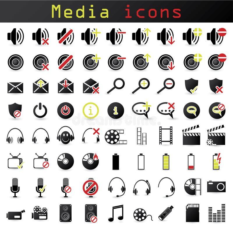 Ícones dos media ilustração stock
