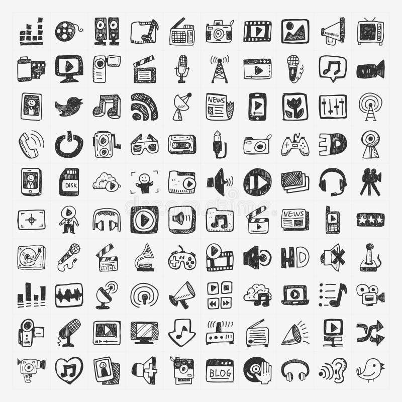 Ícones dos meios da garatuja ajustados ilustração stock