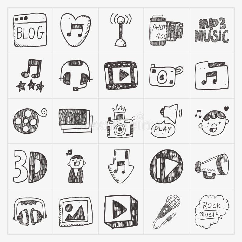 Ícones dos meios da garatuja ajustados ilustração royalty free