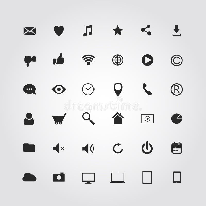 36 ícones dos meios da Web ajustados. Ilustração do vetor ilustração do vetor