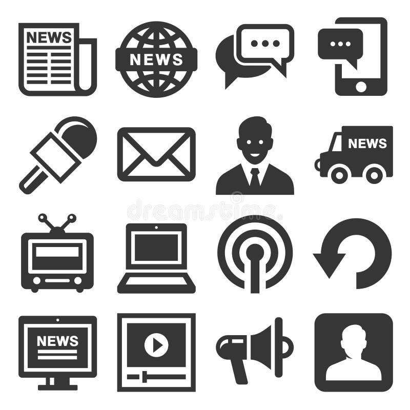 Ícones dos meios noticiosos ajustados no fundo branco Vetor ilustração do vetor