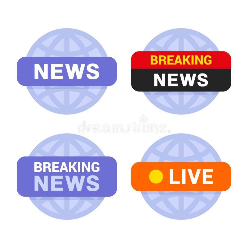 Ícones dos meios noticiosos ajustados no fundo branco Vetor ilustração stock