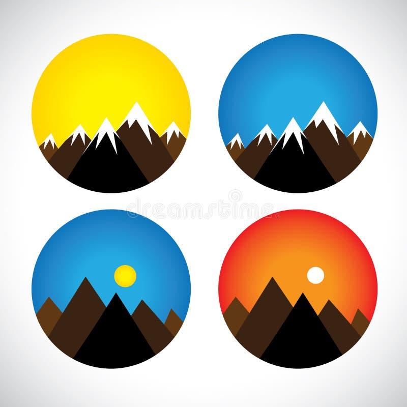 Ícones dos montes & dos picos com neve nas noites, manhãs - conceito ilustração do vetor