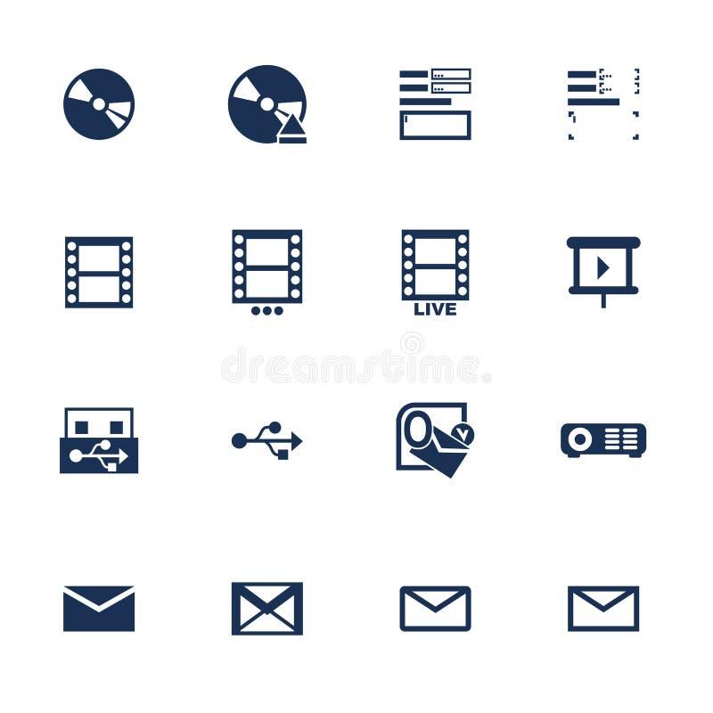 Ícones dos multimédios ilustração royalty free