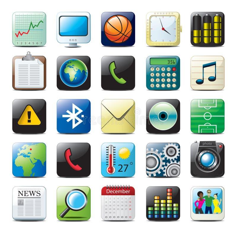 Ícones dos multimédios ilustração stock