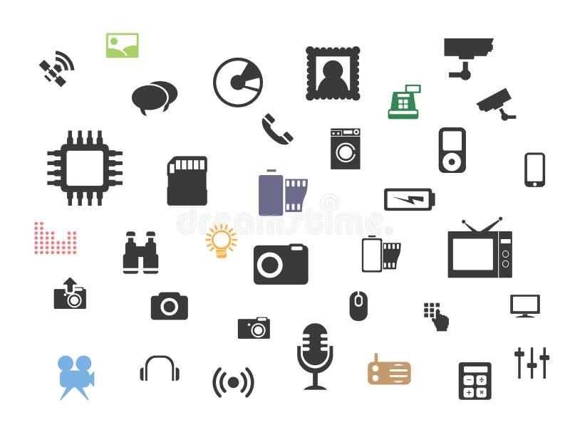 Ícones dos multimédios da Web ajustados ilustração stock