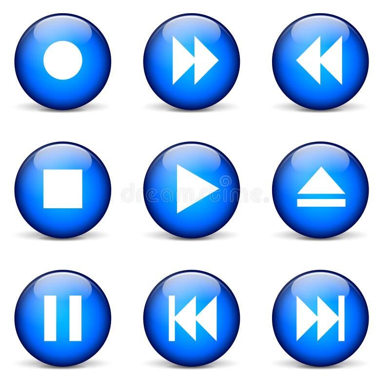 Ícones dos multimédios do vetor ilustração do vetor