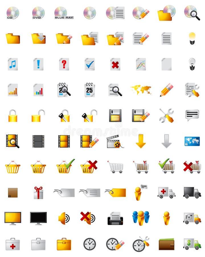 Ícones dos multimédios do Web ilustração stock